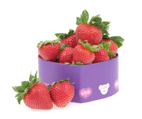 Strawberry in a gift box