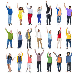 Multi-Ethnic Group of People Arms Raised