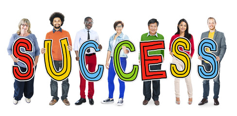 Group of People Holding Letter Success