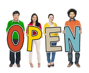 DIverse People Holding Text Open