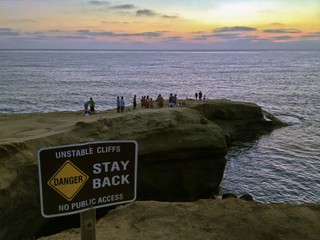 People Watching the Last Light at Sunset Cliffs Natural Park