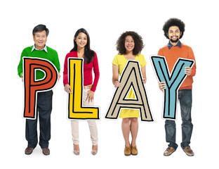 Multiethnic Group of People Holding Letter Play