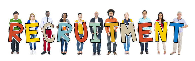 Multiethnic Group of People Holding Letter Recruitment