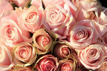 Pink roses in a bridal arrangement