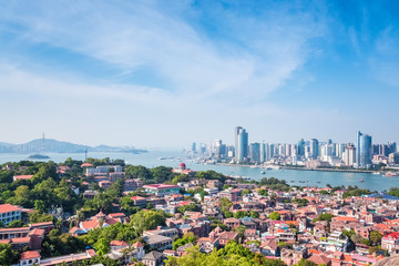 aerial view of xiamen from gulangyu island