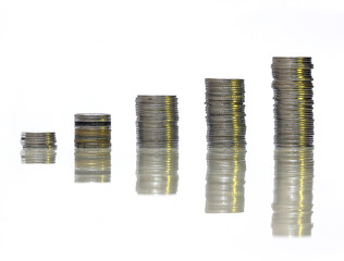 Coin Stack in while pleasing background