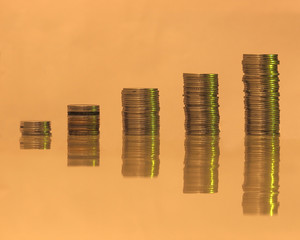 Coin stack in gloomy negative shade