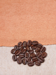 coffee crop beans on fabric textile texture background
