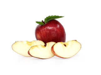 Red apple sliced.