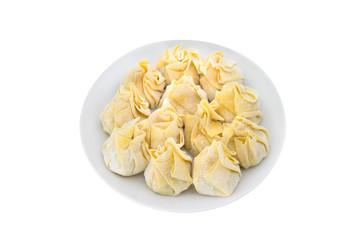 Siomai, raw steamed pork dumplings on white background