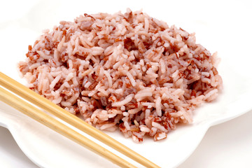 Cooked Brown Rice on white plate