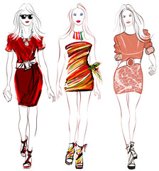 Colorful fashion women defile
