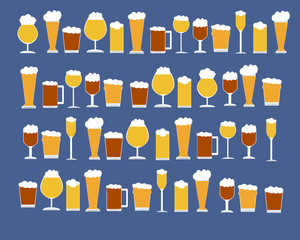 Many types of beer Glasses Pattern