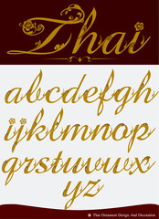 Vector of Thai Calligraphic Alphabet Set Four