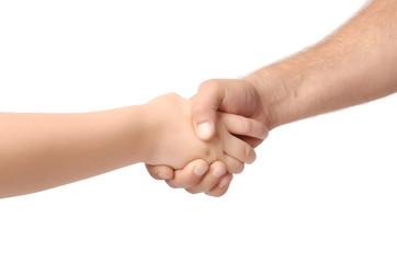 Man and child handshake over the white