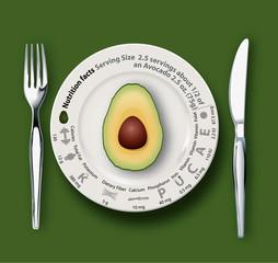 Vector of Nutrition Facts Avocado