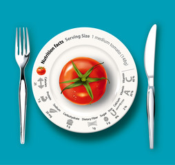 Vector illutrator of nutrition tomato