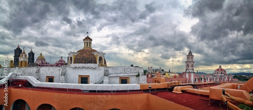 Fotobehang Mexico City View of Puebla, Mexico on a rainy, cloudy day