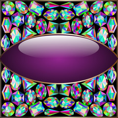 background round frame made ​​of precious stones
