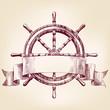 ship steering wheel vintage drawing vector illustration - 69361926