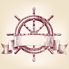 ship steering wheel vintage drawing vector illustration