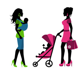 silhouettes of a woman with children in a sling and stroller