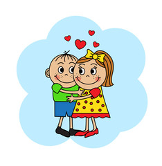Cartoon couple in love, boy and girl hugging