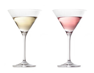 two various glasses of martini