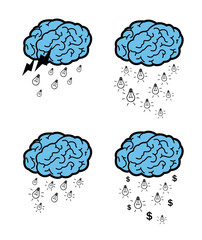 Vector of ideas falling from a brain cloud