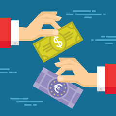Currency Exchange Concept Illustration in Flat Style Design