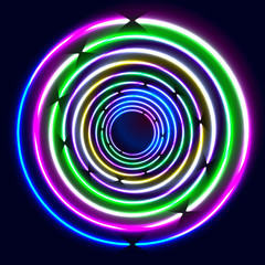 Colorful Glowing Rings - vector eps10 abstract background art