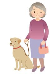 犬の散歩をする女性 高齢者