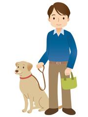 犬の散歩をする男性 高齢者