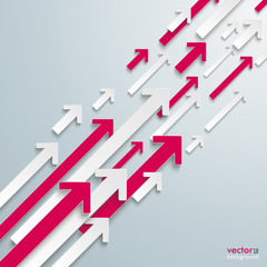 Arrows Up White Pink Bevel Growth
