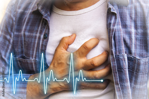 Men with chest pain - heart attack - 69364335