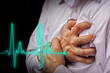Leinwanddruck Bild - Men with chest pain - heart attack