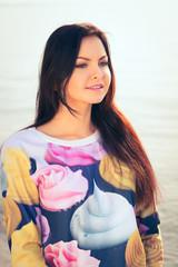 beautiful woman in sunset light