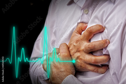 Leinwanddruck Bild Men with chest pain - heart attack