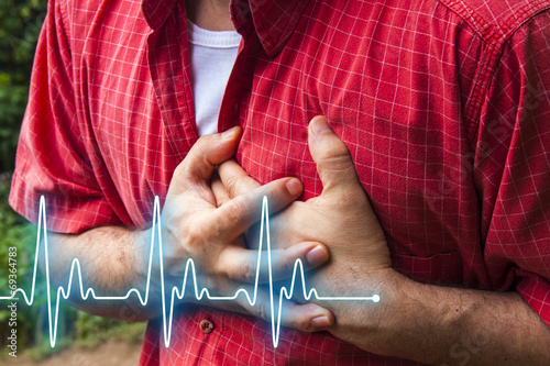 Men with chest pain - heart attack - 69364783