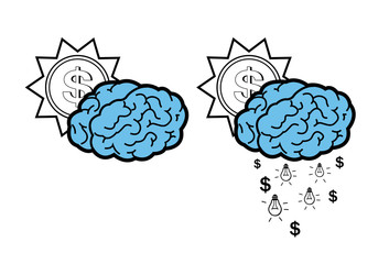 Vector of ideas falling from a brain cloud and the sun