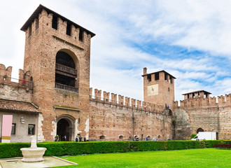 Castelvecchio with clock tower in Verona. Italy