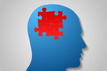 Red jigsaw on blue head