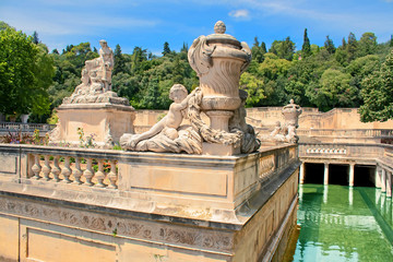 Roman bathes in Nimes, France
