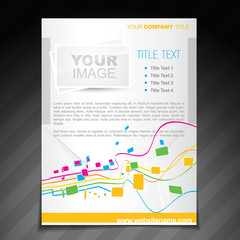 colorful waves flyer brochure design