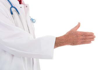 Physician handshake on white background