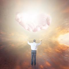 Hands of God. Man worshiping