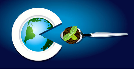 Vector of The Earth graphic on plate eat young plant