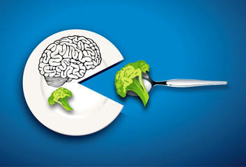 Vector of Brain food concept