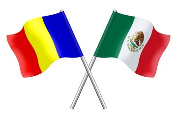 Flags : Romania and Mexico