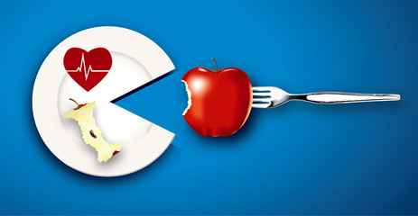 Vector of Healthy Heart food concept